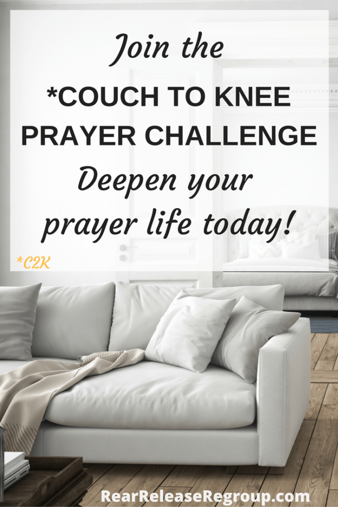 Start your own personal 30-day Couch to Knee Prayer Challenge (C2K0 and deepen your prayer life today! Scripture prayers, prayer prompts, knee prayer, five days per week.