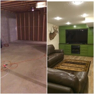 Basement - before and after den