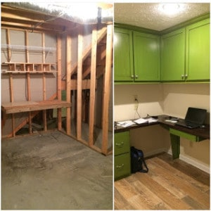 Basement - before and after office
