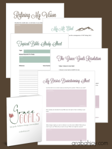 Goal setting sheets for Grace Goals, a new method for setting goals!