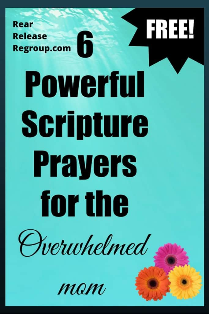 6 Powerful Scripture prayers for the overwhelmed mom. Praises and prayers for daily strength and for guidance in mothering.